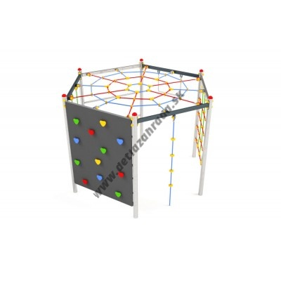 Kovová preliezačka Hexagonal s pavúčiou sieťou a lezeckou stenou