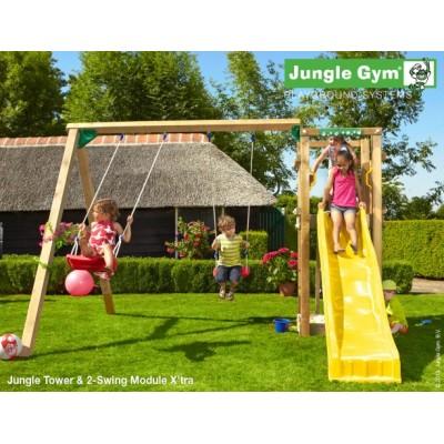 Jungle Gym Tower 2-swing so šmýkačkou