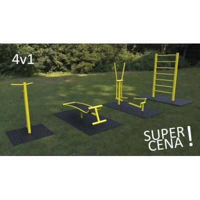 Outdoor fitness zariadenia 4 v 1 akciový set