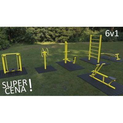 Outdoor fitness zariadenia 6 v 1 akciový set