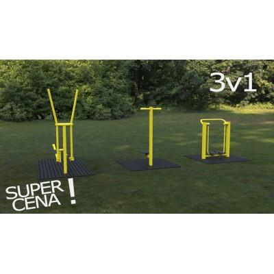 Outdoor fitness zariadenia 3 v 1 akciový set