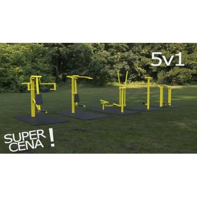 Outdoor fitness zariadenia 5 v 1 akciový set