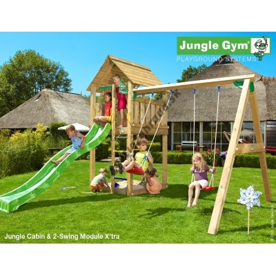 Jungle Gym Cabin 2-Swing Xtra so šmýkačkou