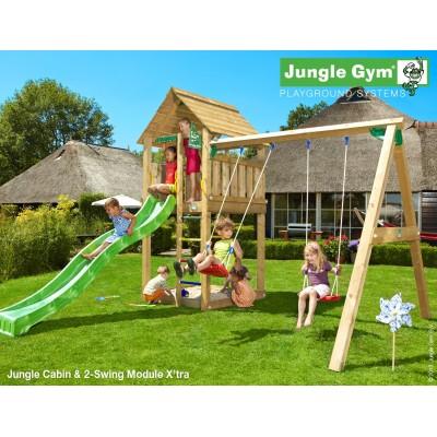 Jungle Gym Cabin 2-Swing Xtra so šmýkačkou
